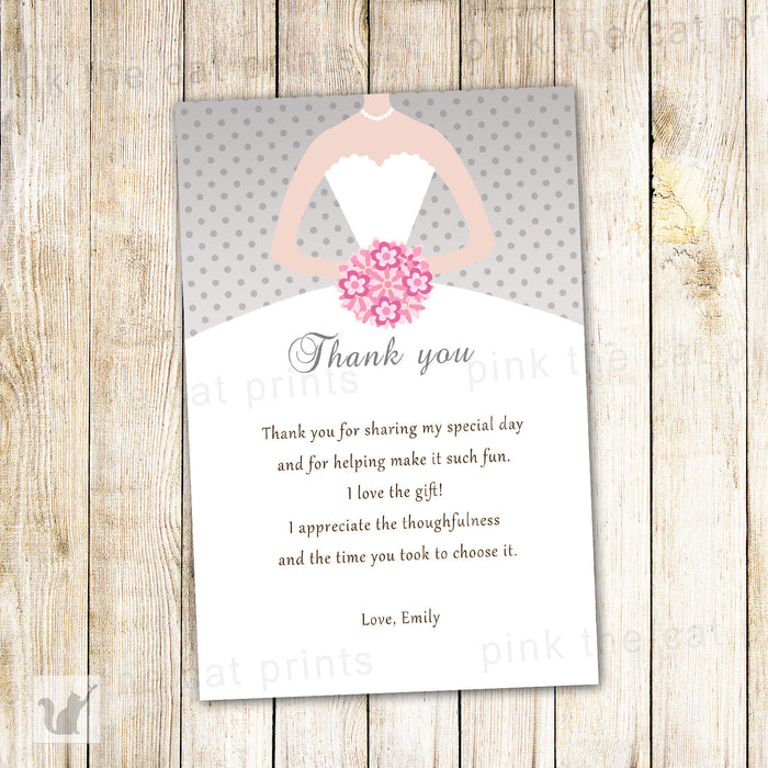 Dress Silver Pink Bridal Shower Thank You Card Note
