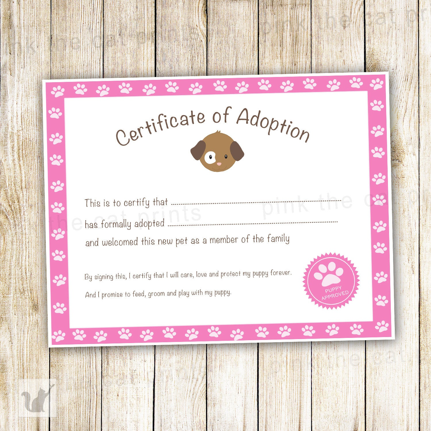 Certificate Of Adoption Puppy Birthday Party Pink Pink The Cat