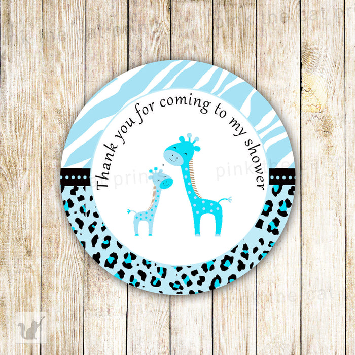 INSTANT DOWNLOAD Printable Jungle Tags Blue Giraffe Thank You Label - Zebra Leopard Animal Texture Background Baby Boy Shower