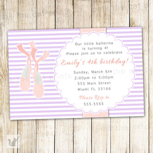 ballerina invitation purple pink