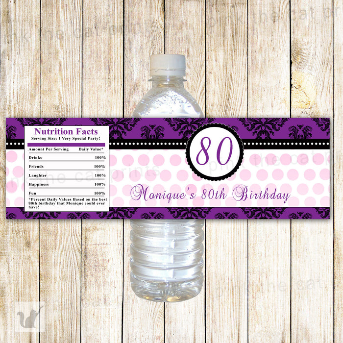 Purple Black Adult Birthday Bottle Label