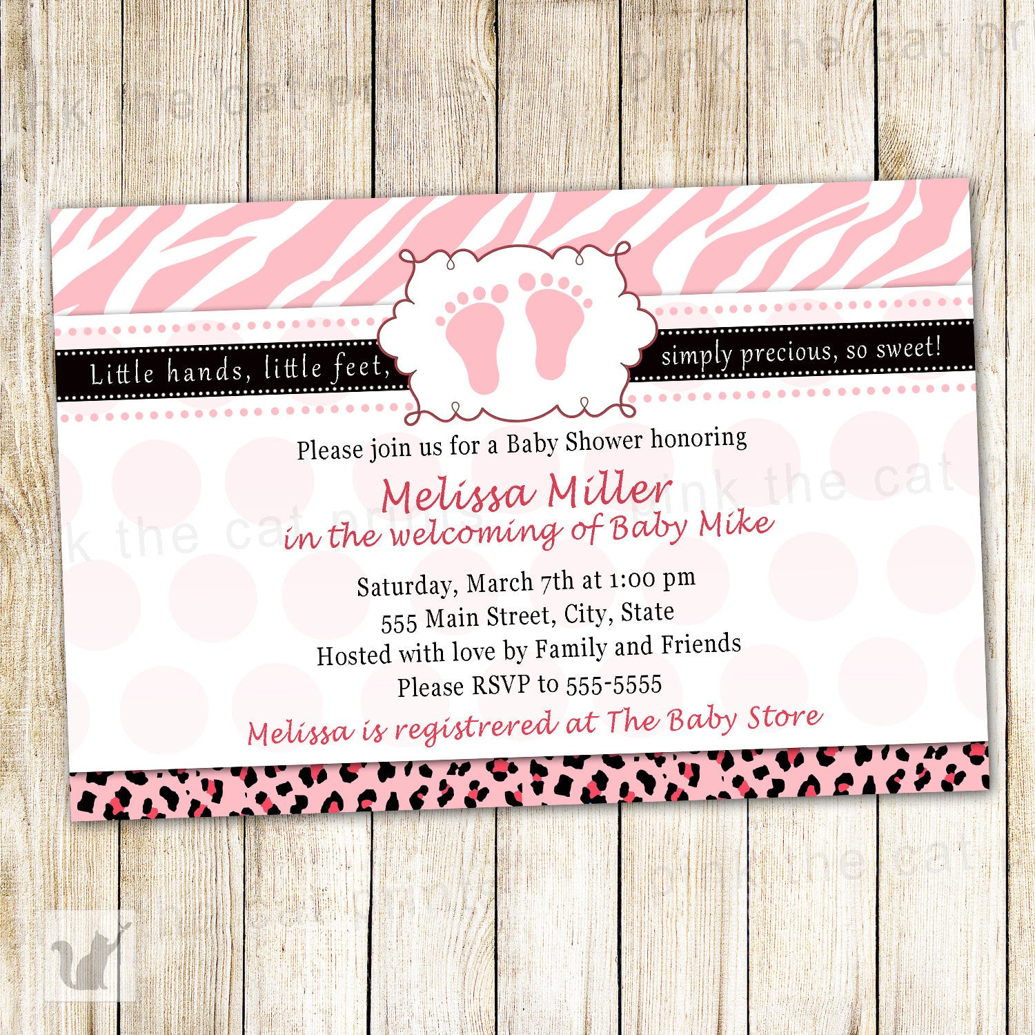 Zebra invitation baby girl shower pink diva pink the cat pink zebra baby shower invitation filmwisefo