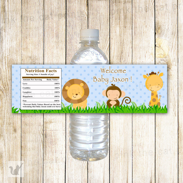 Blue Jungle Bottle Label Birthday Baby Shower 2