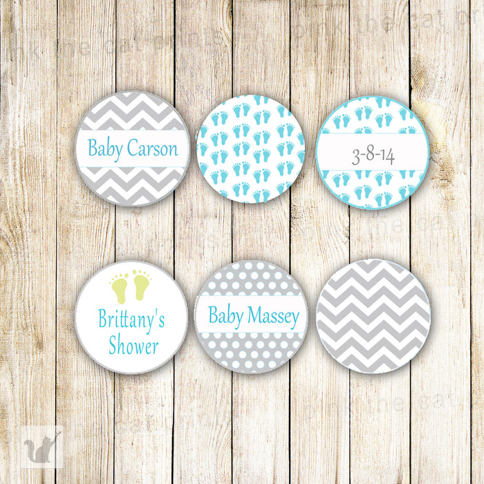 Small Round Candy Label Sticker Green Grey Baby Shower