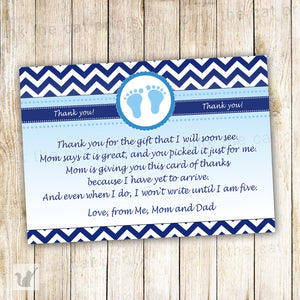 Chevron Thank You Card Note Baby Boy Shower Navy Blue
