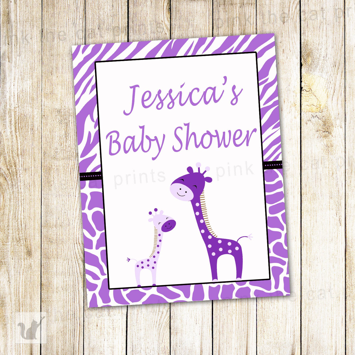 Giraffe Welcome Sign Baby Shower Purple – Pink The Cat