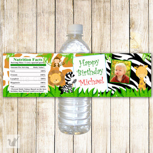 Jungle Bottle Label Photo Boy Birthday