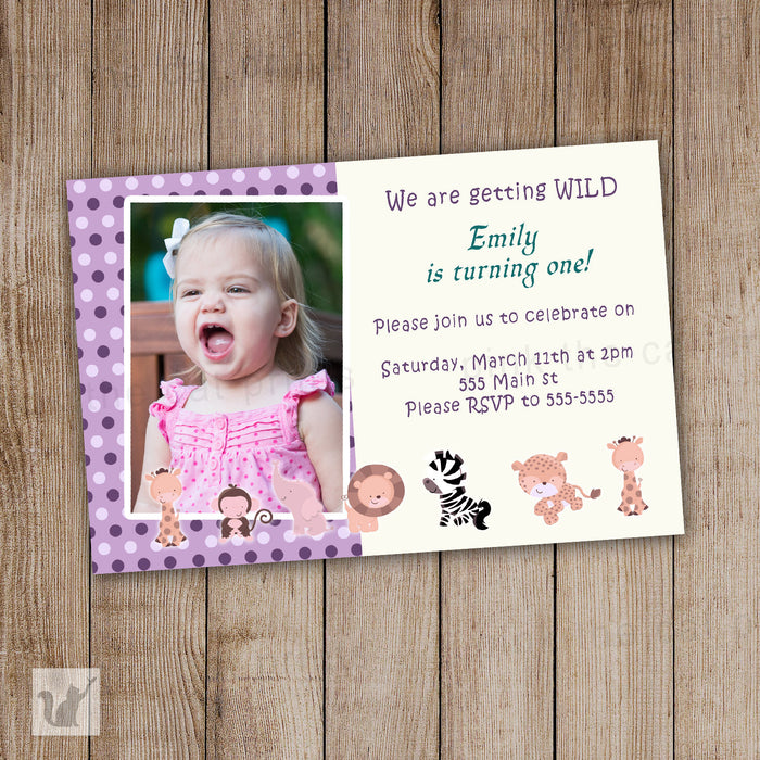 Jungle Animals Birthday Invitation Girl Birthday Photo Card