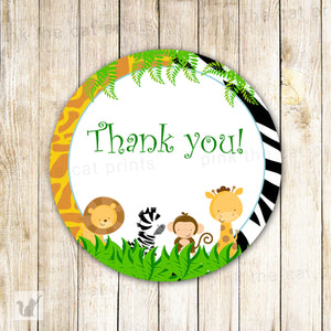 Jungle animal print kids birthday baby shower favor labels printable