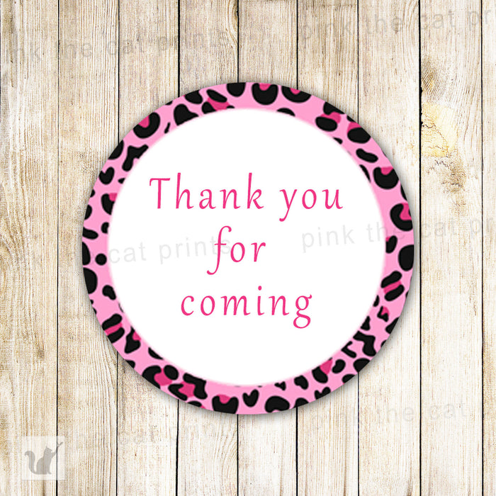 Leopard Favor Labels Gift Tags - Cheetah Label Leopard Label Cheetah Sticker Pink Baby Girl Shower Birthday Party Printable INSTANT DOWNLOAD