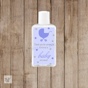 Purple Stroller Hand Sanitizer Labels Baby Girl Shower