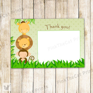 Jungle Thank You Note, Jungle Baby Shower, Jungle Birthday Party, Boy Birthday Party, Printable File, Greeting Card, Green Brown, GET IT NOW