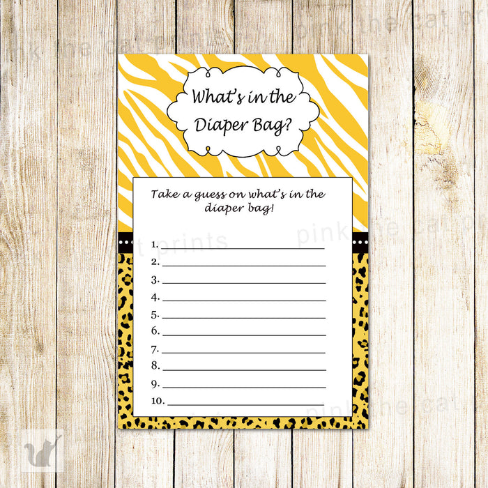 Yellow Jungle Whats in The Diaper Bag Card