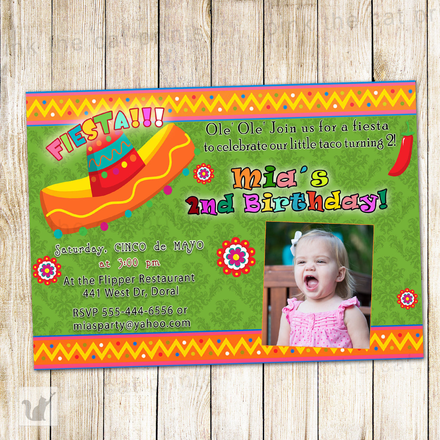 Green Mexican Fiesta Invitation