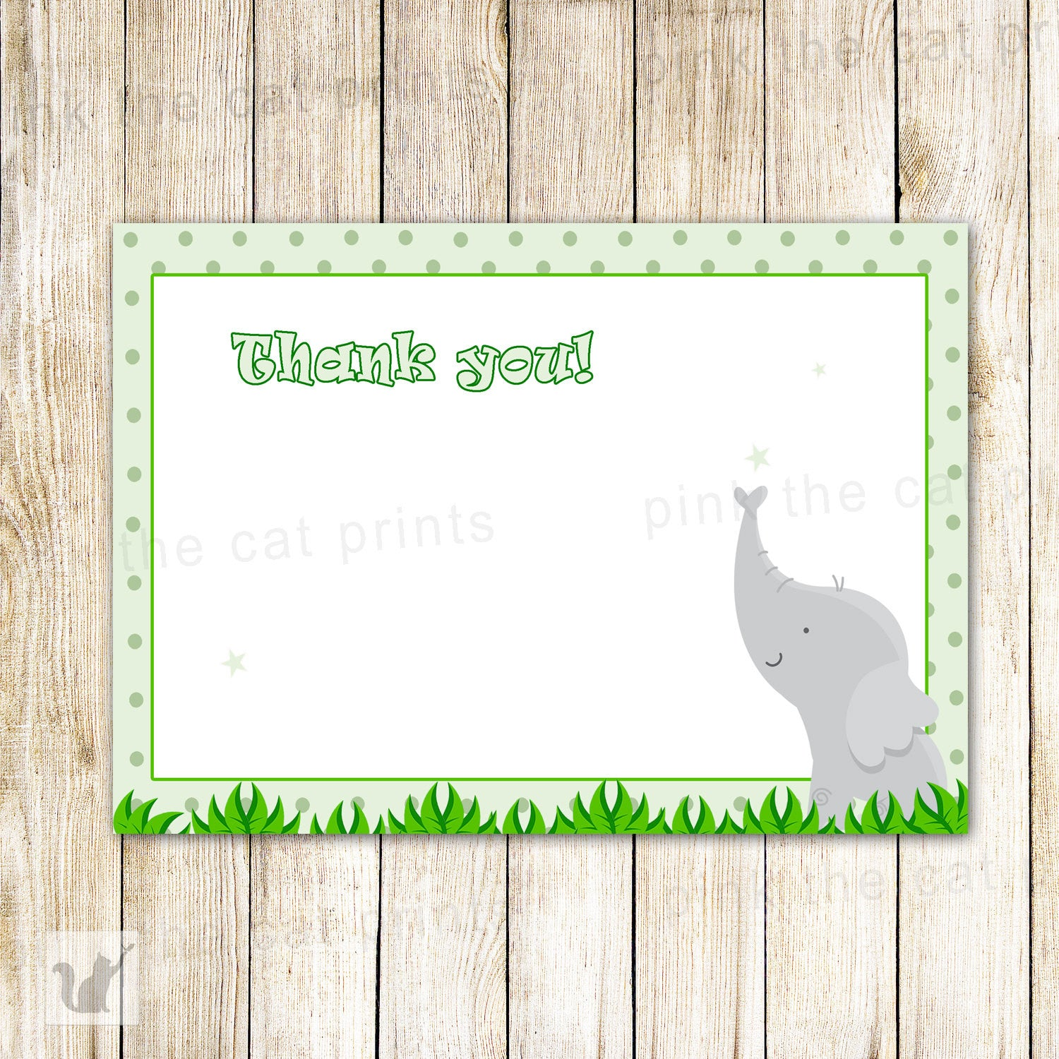 elephant thank you card note birthday baby shower green pink the cat