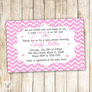 pink chevron baby shower invitation