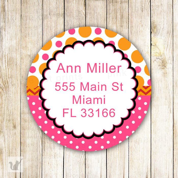 Polka Pink Orange Address Labels - Birthday Party Baby Girl Shower Printable Personalized INSTANT DOWNLOAD