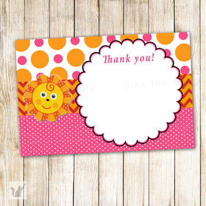 Sunshine Thank You Card - Baby Girl Shower Birthday Party Notes Sun Orange Pink INSTANT DOWNLOAD