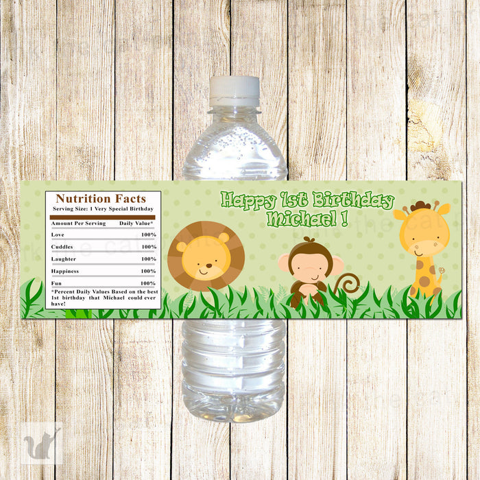 Jungle Bottle Label Birthday Baby Shower Green
