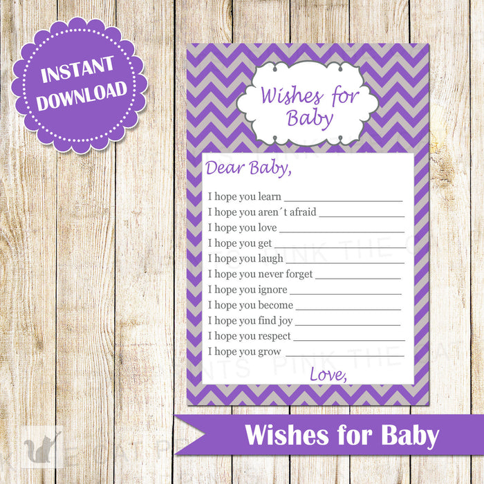 Wishes for Baby Card Purple Grey