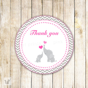Elephant Label Baby Girl Shower Favor Tag Pink Stickers
