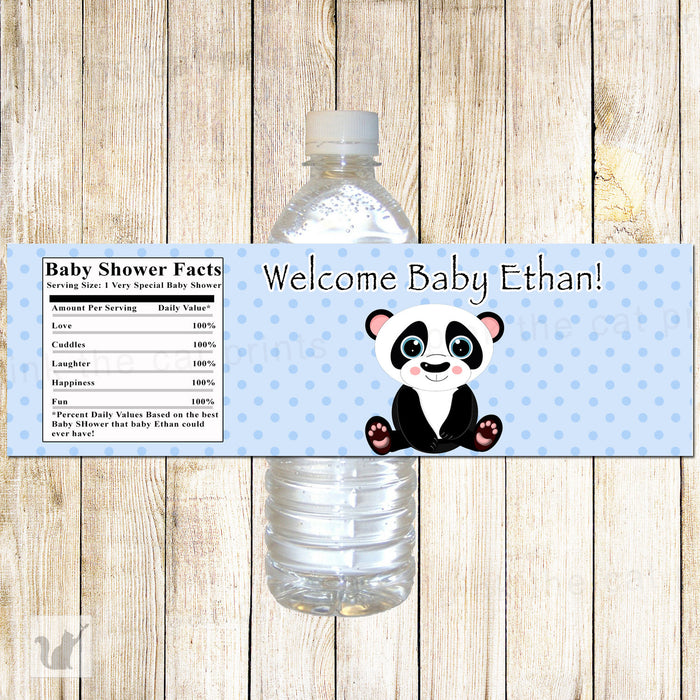 Panda Bear Bottle Label Birthday Baby Shower