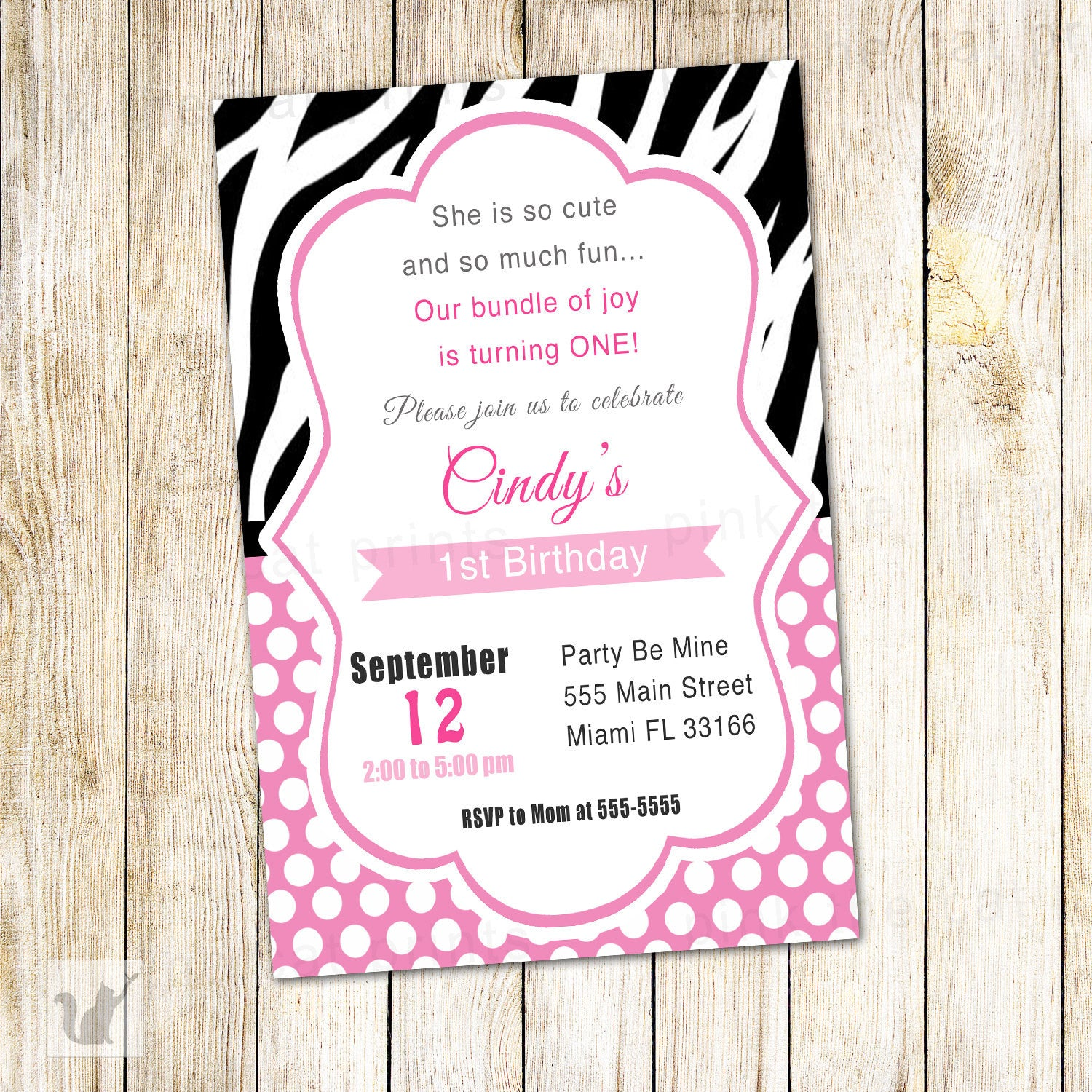 Zebra Invitation Girl Birthday Party Pink Diva INSTANT DOWNLOAD ...