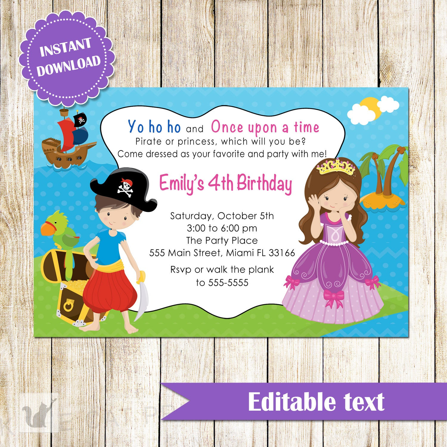 Pirate Princess Invitation Kids Birthday Party INSTANT DOWNLOAD ...