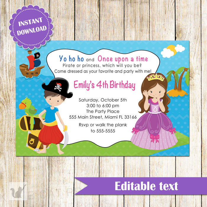 Pirate Princess Invitation Kids Birthday Party INSTANT DOWNLOAD