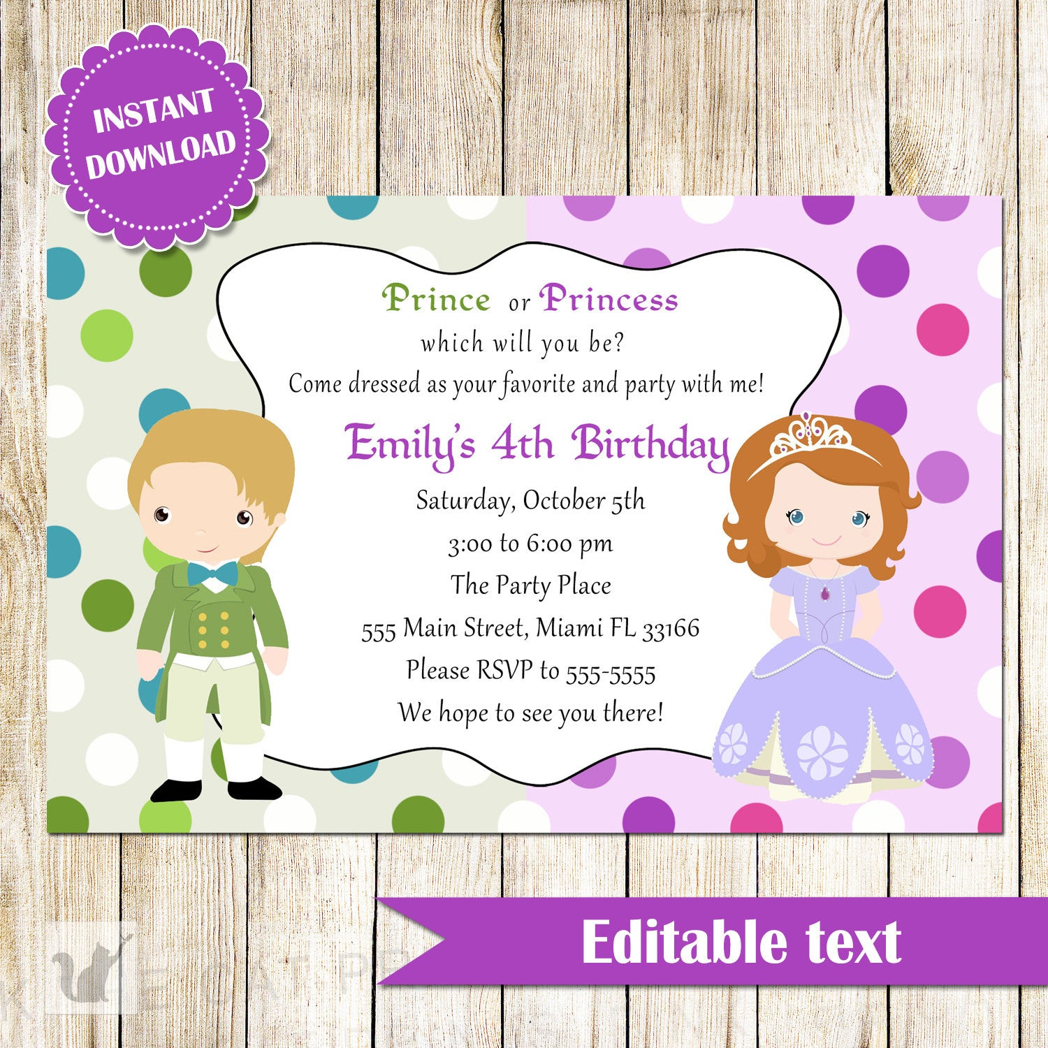 Prince princess invitation kids birthday instant download pink the cat birthday invitation prince princess filmwisefo