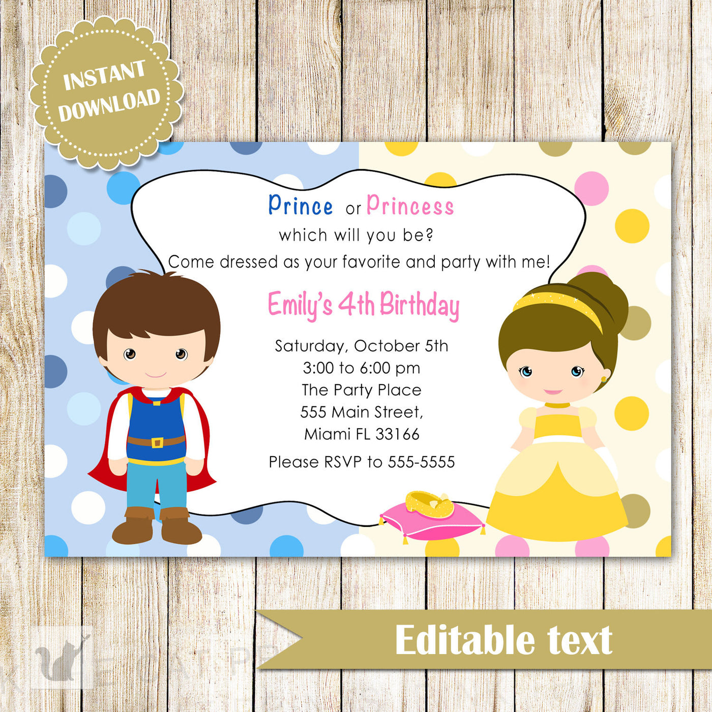 prince princess invitation kids birthday party brunette instant