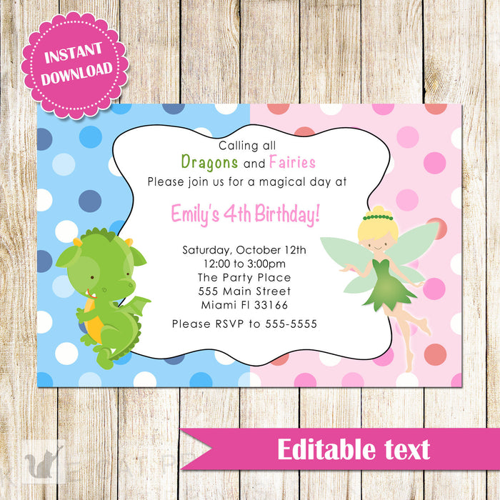 Fairy Dragon Invitation Kids Birthday Party Pixie INSTANT DOWNLOAD