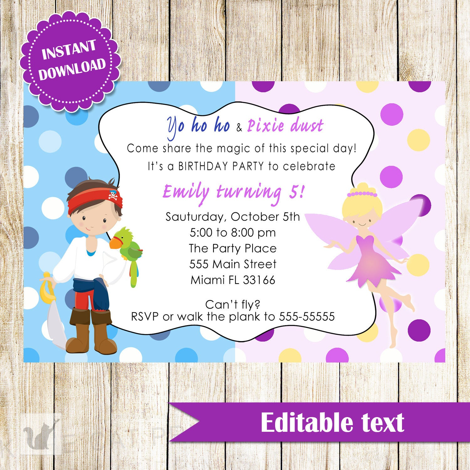Fairy Pirate Invitation Kids Birthday Party – Pink The Cat