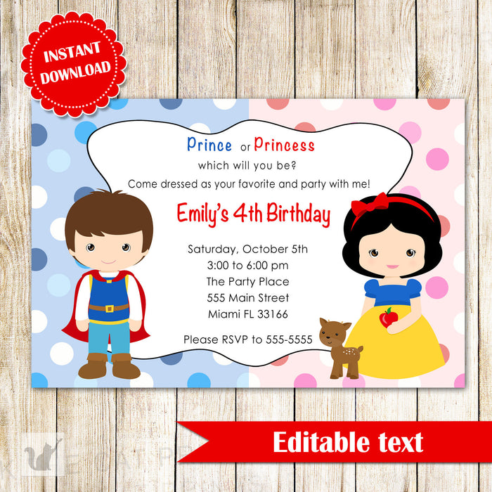 Prince Princess Invitation Kids Birthday Party INSTANT DOWNLOAD