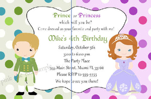 Prince Princess Invitation Kids Birthday INSTANT DOWNLOAD