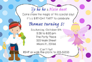Fairy Pirate Invitation Kids Birthday Party