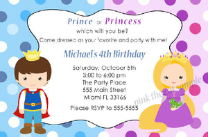 Prince Blonde Princess Invitation Kids Birthday INSTANT DOWNLOAD