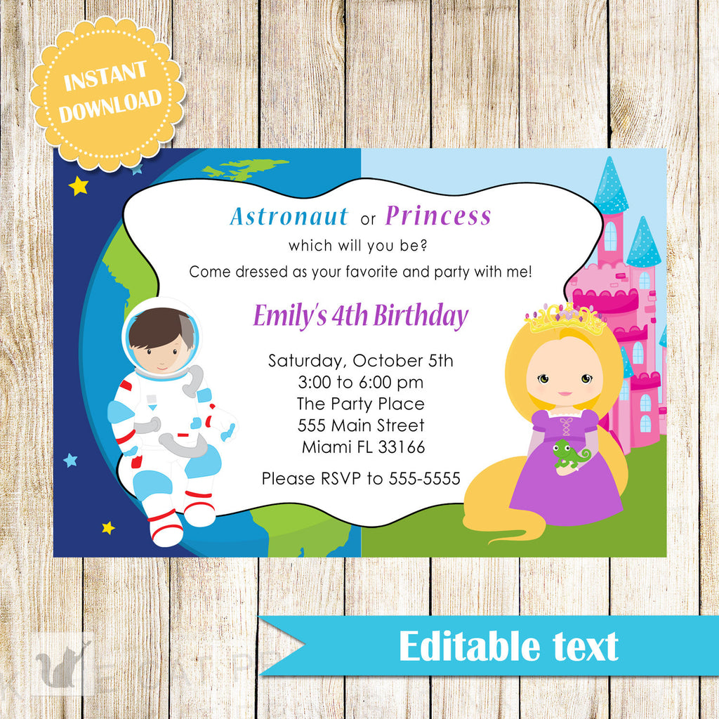 astronaut and princess invitation