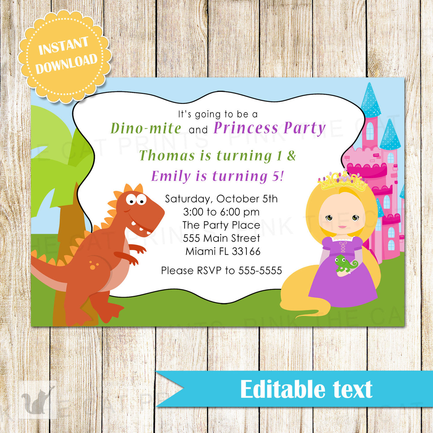 Dinosaur Princess Invitation Kids Birthday T Rex INSTANT DOWNLOAD