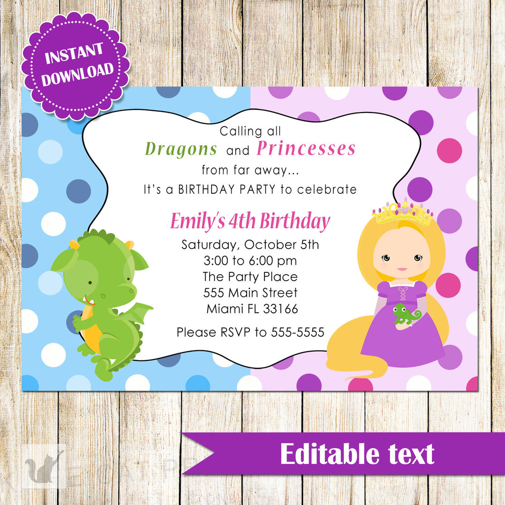 Dragon Princess Invitation Kids Birthday Party