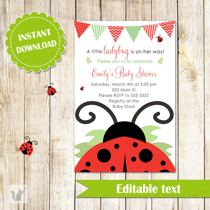 Ladybug Invitation Baby Girl Shower