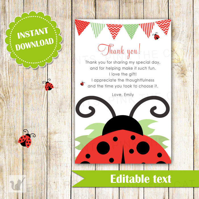 Ladybug Thank You Card - Red Black Printable Editable File INSTANT DOWNLOAD