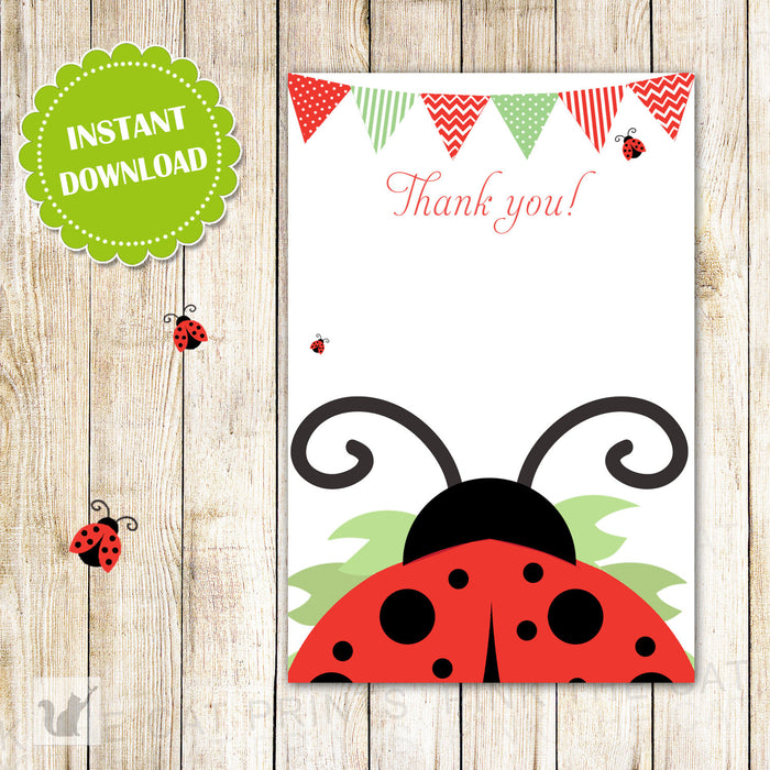 Ladybug Thank You Card Note - Birthday Party Baby Shower Printable INSTANT DOWNLOAD