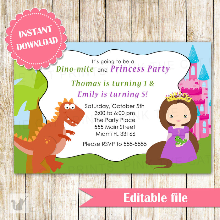 Dinosaur Brunette Princess Invitation Kids Birthday INSTANT DOWNLOAD