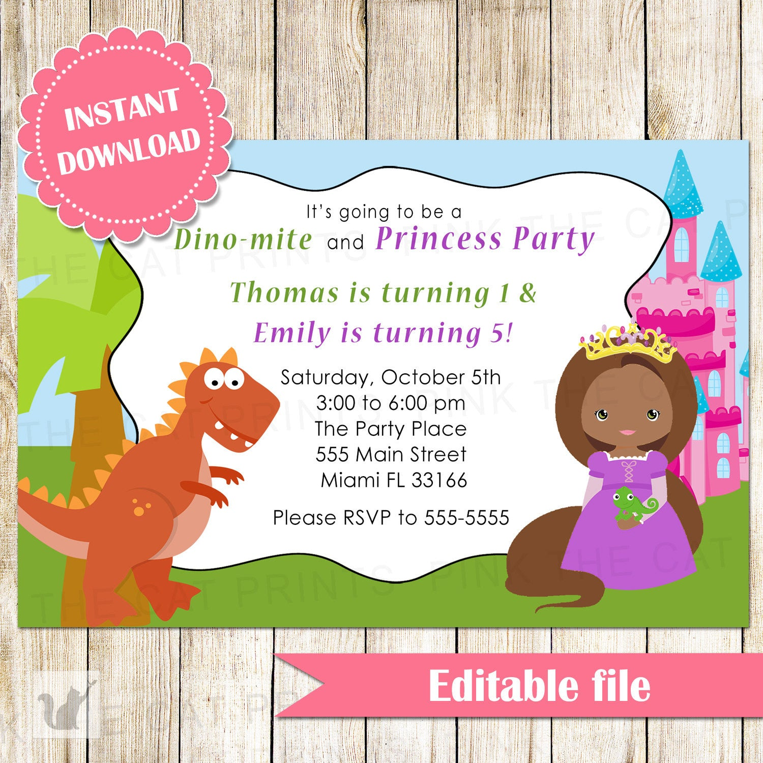 Dinosaur Princess Invitation Kids Birthday Party African American ...