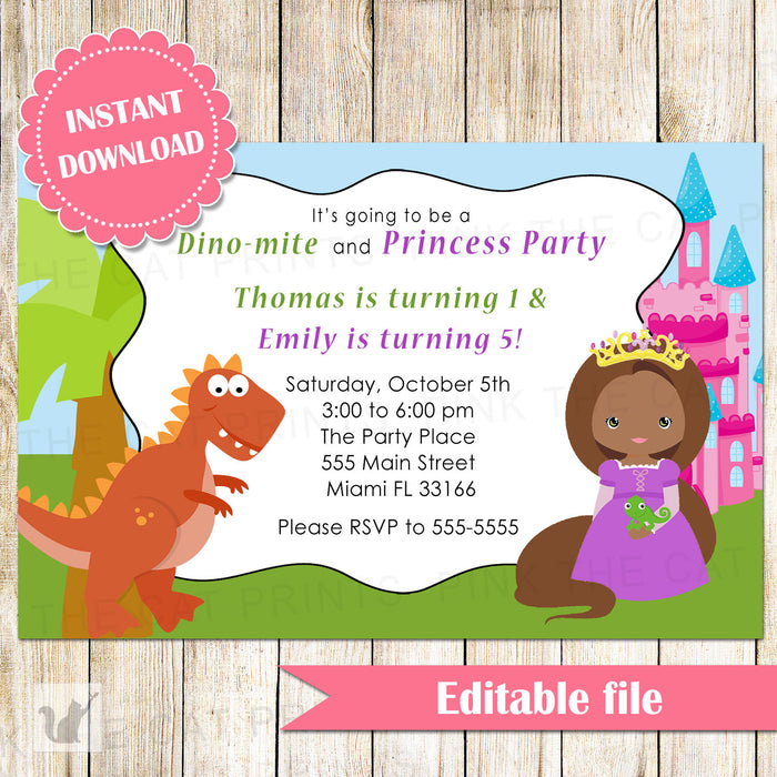 Dinosaur Princess Invitation Kids Birthday Party African American