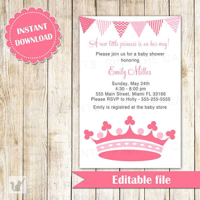Princess Invitation Baby Girl Shower Pink Crown INSTANT DOWNLOAD