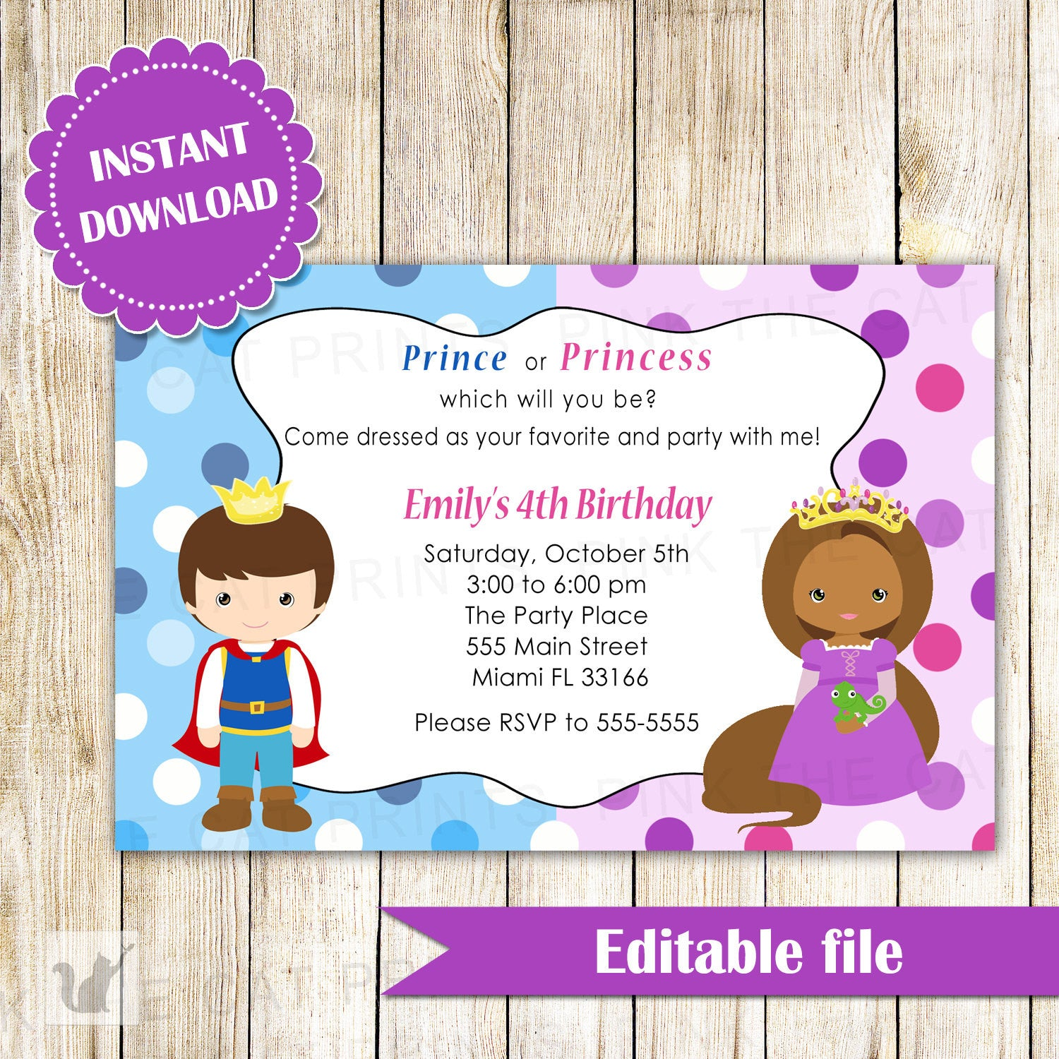 Prince African American Princess Invitation Birthday INSTANT ...