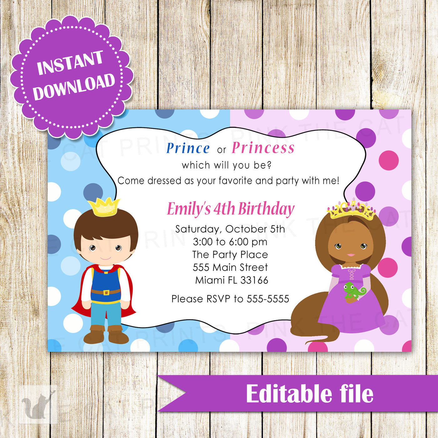 Prince African American Princess Invitation Birthday INSTANT