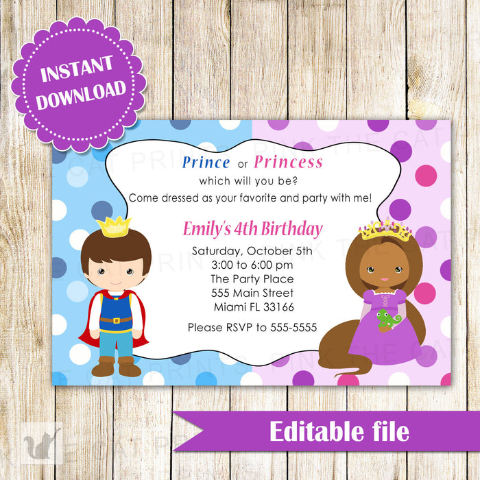Prince African American Princess Invitation Birthday INSTANT DOWNLOAD